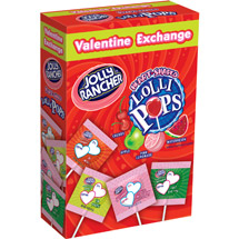 Jolly Rancher Valentine Exchange Heart Shaped Lollipops