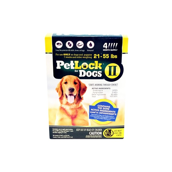 PetLock 3 Way Flea Protection Kills Adults, Larvae & Eggs 21-55 Lbs for Dogs II
