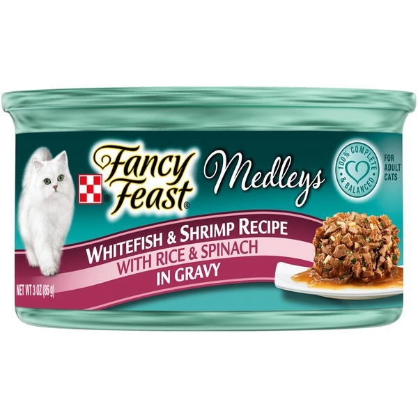 Fancy Feast Medleys Gourmet Cat Food Whitefish & Shrimp Recipe in Gravy