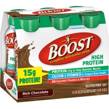 BOOST HIGH PROTEIN Complete Nutritional Drink, Chocolate Sensation, 8 fl oz Bottle, 6 Pack