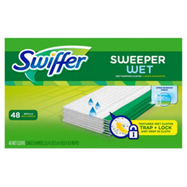 Swiffer Sweeper Wet Mopping Pad Refills for Floor Mop Open Window Fresh Scent 48 Count Surface Care