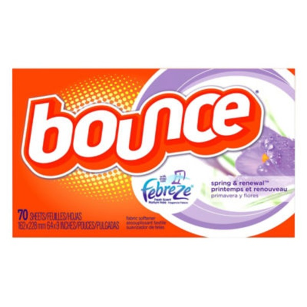 Bounce With Febreze Bounce Fabric Softener Dryer Sheets with Febreze Spring & Renewal 70CT Fabric Enhancers