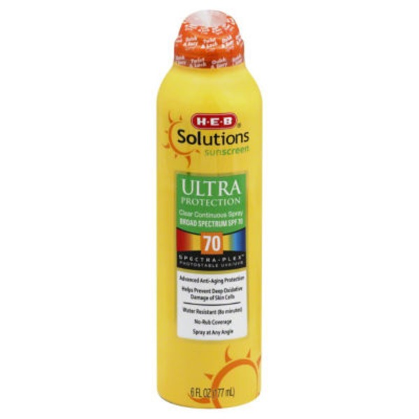 H-E-B Solutions Ultra Protection Broad Spectrum Sunscreen Spray SPF 70