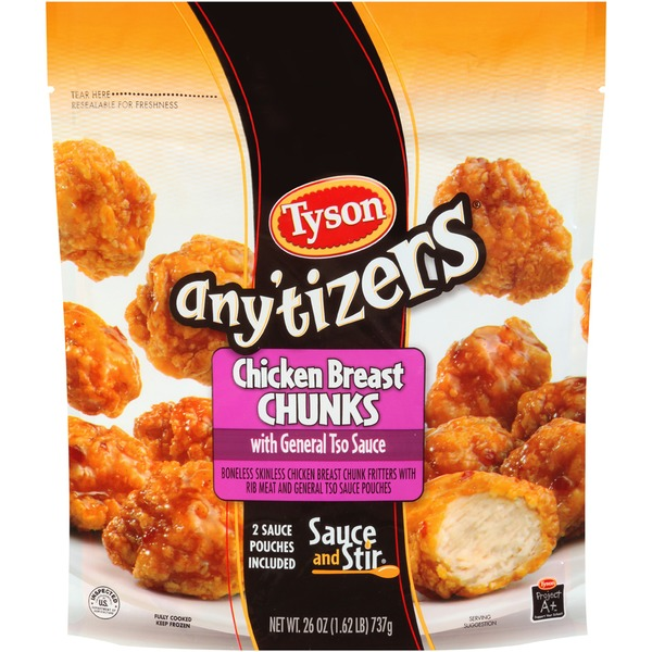 Any'tizers with General Tso Sauce Chicken Breast Chunks