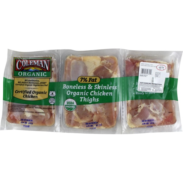 Coleman Organics Organic Boneless and Skinless Chicken Thighs