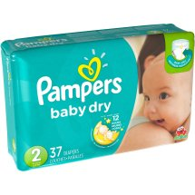 Pampers Baby Dry Diapers, Size 2, 37 Diapers