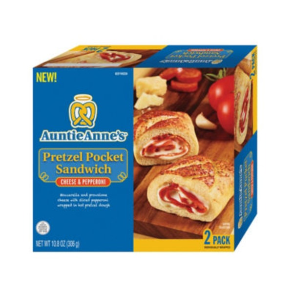 Auntie Anne's Pepperoni Pizza Pretzel Sandwich