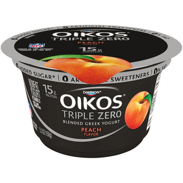 Oikos Triple Zero Blended Greek Peach Nonfat Yogurt