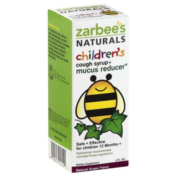 Zarbee's Naturals Children's Cough Syrup + Mucus with Dark Honey Natural Grape Flavor Dietary Supplement