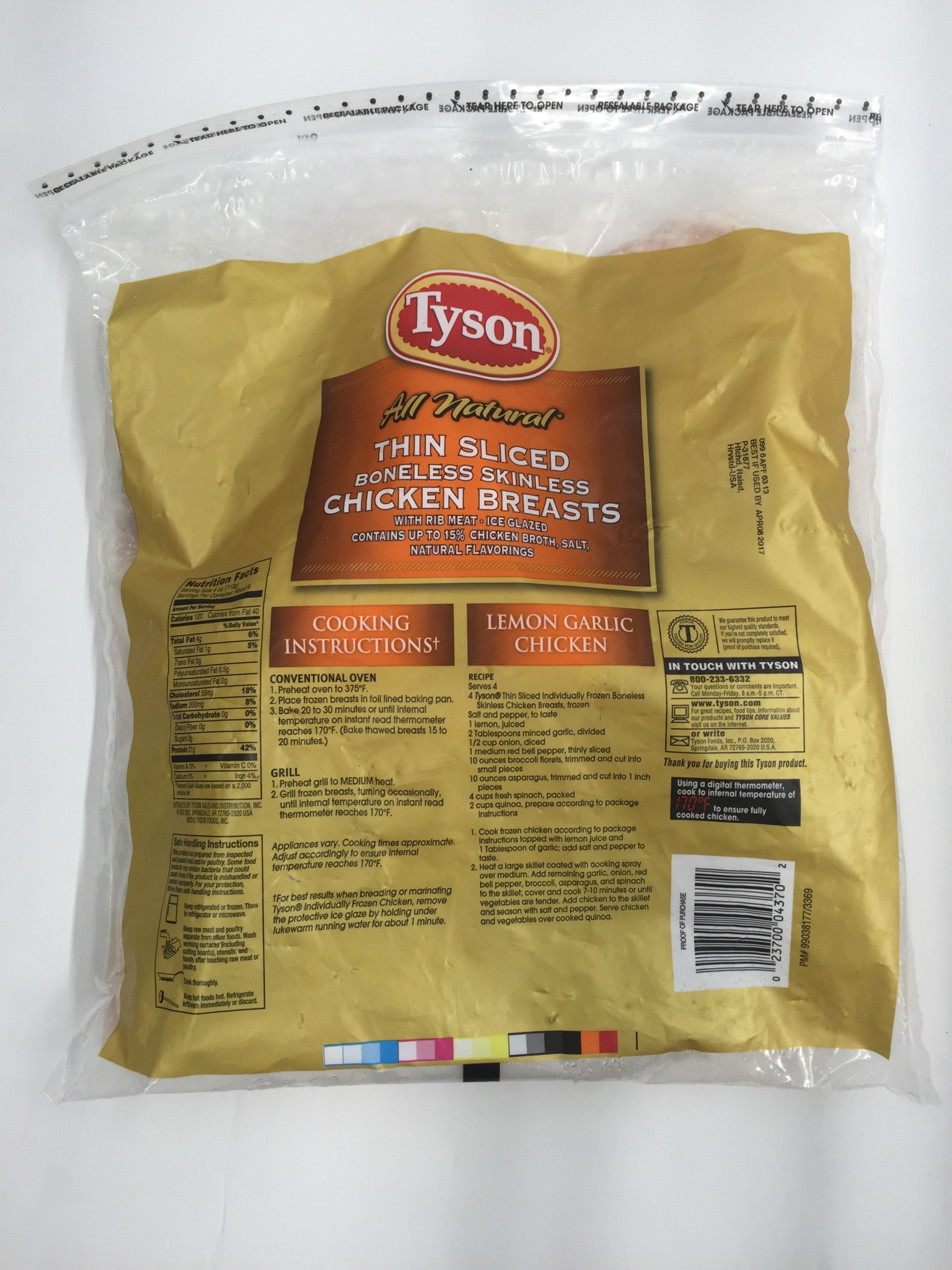 Tyson Boneless Skinless Thin Sliced Chicken Breasts Portions 36 oz Bag