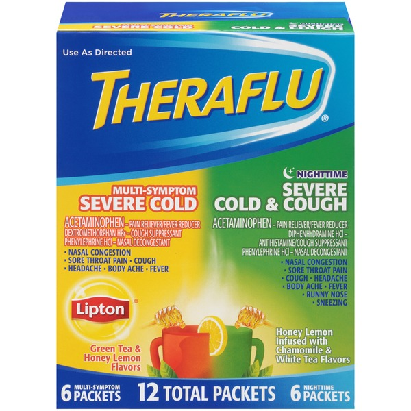 Theraflu Lipton Green Tea & Honey Lemon Flavors/Nighttime Honey Lemon Powder Multi-Symptom Severe Cold/Severe Cold & Cough