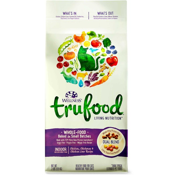 Wellness Tru Food Chicken Chickpeas & Chicken Liver Indoor Adult Cat Food 2 Lbs.