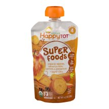 HappyTot Organics Super Foods Organic Apples, Sweet Potato, Carrots & Cinnamon + Super Chia, 4.22 OZ