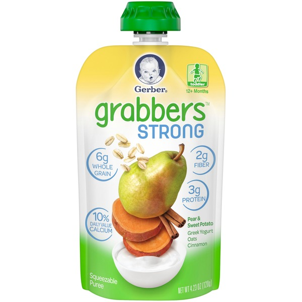 Gerber Grabbers Strong Pear & Sweet Potato Squeezable Puree