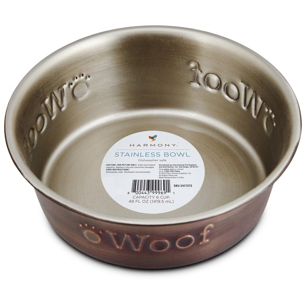 Harmony Stainless Steel Woof Copper Dog Bowl 2 C.