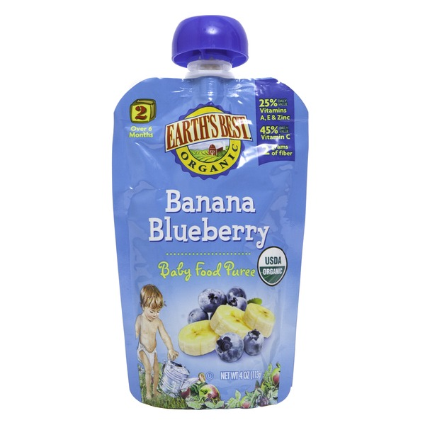 Earth's Best Organic Stage 2 Banana Blueberry Baby Food Puree