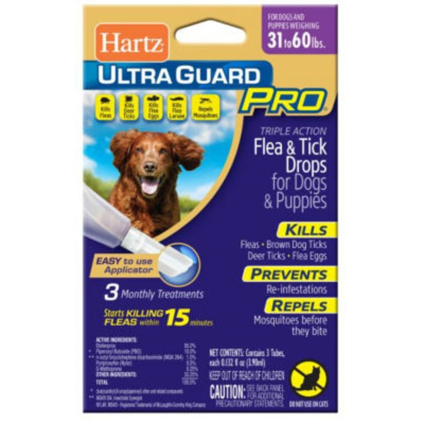 Hartz Ultra Guard Pro Flea & Tick Drops For Dogs & Puppies 31 to 60lbs. 3 Month Treatment - 3 CT