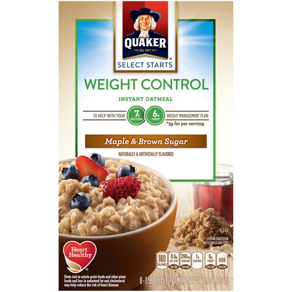Quaker Oatmeal Select Starts Weight Control Maple & Brown Sugar Instant Oatmeal