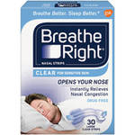 Breathe Right Nasal Strips Clear Color for Sensitive Skin Drug Free Large Size
