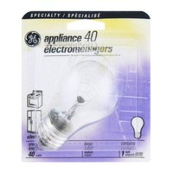 GE Specialty Appliance Medium Base 40 Watt Clear Light Bulb
