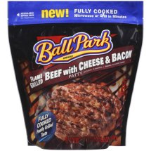 Ball Park Flame Grilled Beef Patties with Cheese & Bacon, 6 ct, 16.2 oz