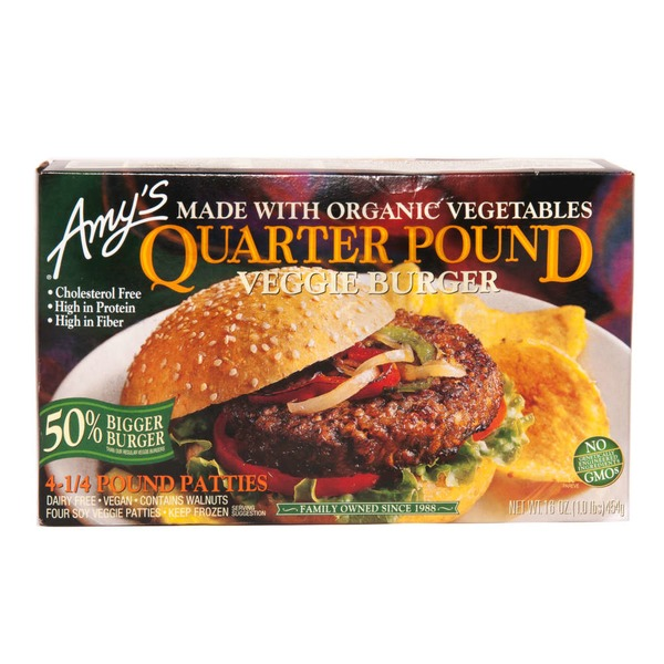 Amy's Quarter Pound Veggie Burger - 4 CT