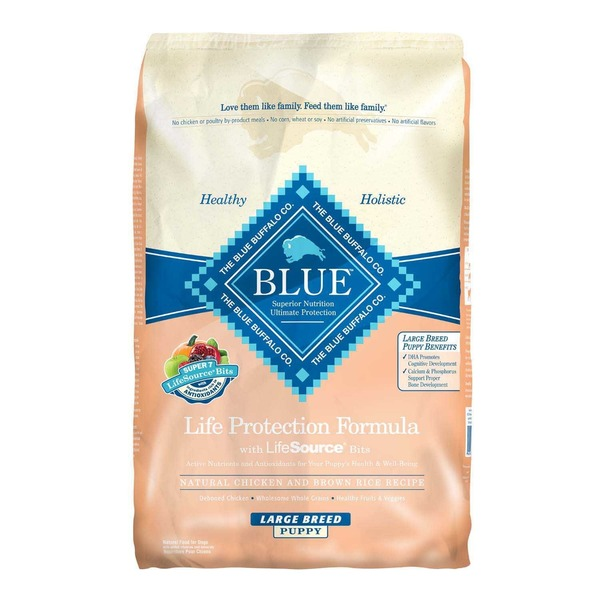 Blue Buffalo Dog Food, Dry, Chicken & Brown Rice, Life Protection, Large Breed, Puppy, Bag