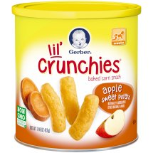Gerber Graduates Lil' Crunchies Baked Whole Grain Corn Snack, Apple and Sweet Potato, 1.48 oz. Cannister