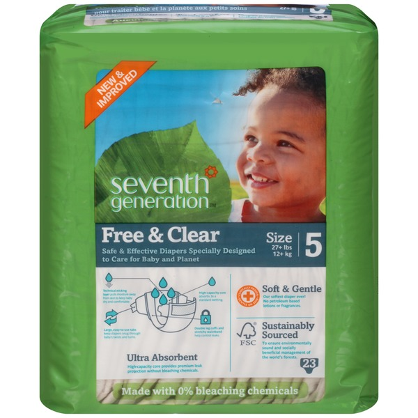 Seventh Generation Baby Free & Clear Stage 5 27+ lbs Diapers