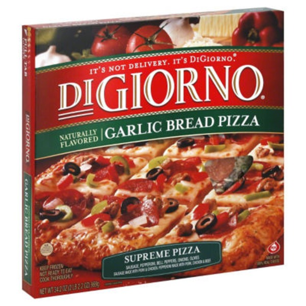DiGiorno Naturally Flavored Garlic Bread Supreme (Sausage, Pepperoni, Onions, Olives) Pizza
