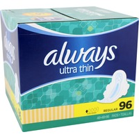 Always Thin Ultra Always Ultra Thin Regular Pads With Wings 96 count Feminine Care