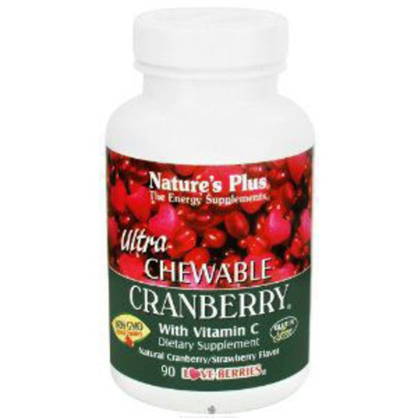 Nature's Plus Ultra Chewable Cranberry with Vitamin C  Cranberry/Strawberry Flavor