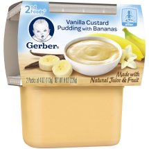 Gerber 2nd Foods Vanilla Custard Pudding with Bananas Baby Food, 4 oz Tubs, 2 Count