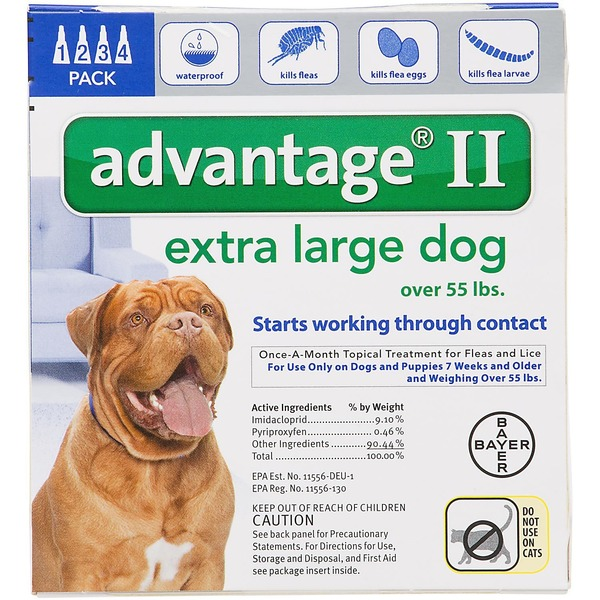 Advantage II Extra Large Dog One-A-Month Topical Treatment For Fleas & Lices