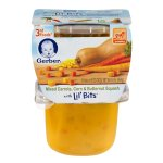Gerber 3rd Foods Lil' Bits Mixed Carrots, Corn & Butternut Squash Baby Food, 5 oz Tubs, 2 Count