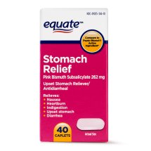 Equate Stomach Relief Pink Bismuth Subsalicylate Caplets, 262 mg, 40 Ct