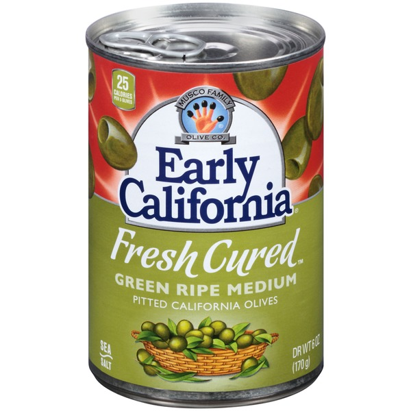 Early California Fresh Cured Green Ripe Medium Pitted California Olives