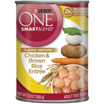 Purina ONE SmartBlend Classic Ground Chicken & Brown Rice Entree Adult Wet Dog Food, 13 Oz.