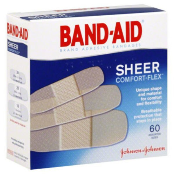 Band-Aid Adhesive Bandages, Comfort Sheer, Assorted Sizes