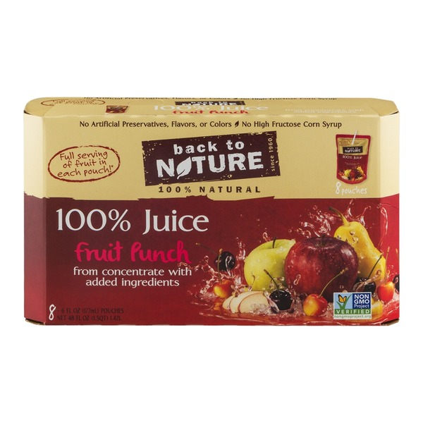 Back to Nature 100% Juice Pouches Fruit Punch - 8 CT