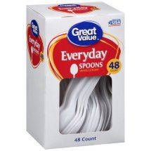 Great Value Everyday Spoons White Cutlery, 48 Count