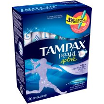 Tampax Pearl Tampons with Plastic Applicator, Light, Unscented, 18 Ct
