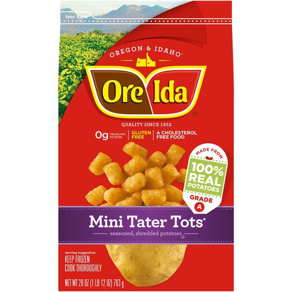 Ore Ida Mini Tater Tots Seasoned Shredded Potatoes