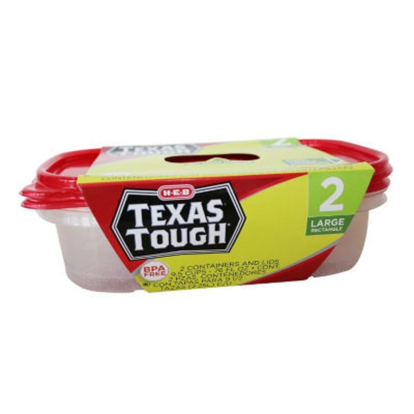 H-E-B Texas Tough & Easy 2 Large Dish Containers With Lids