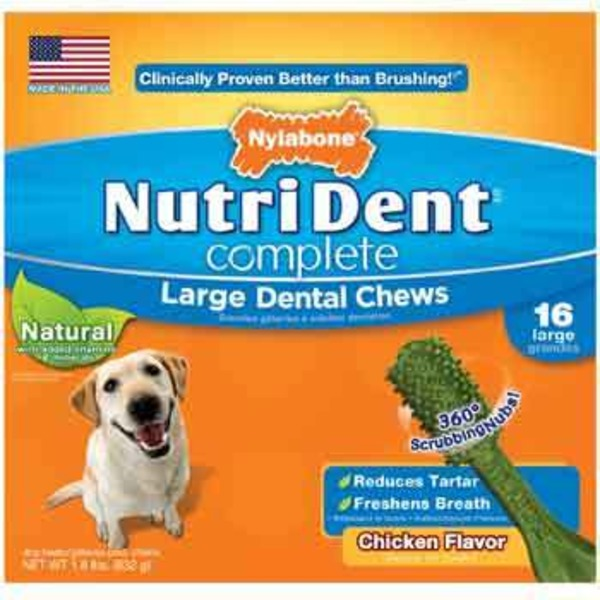 Nylabone NutriDent Complete Adult Dog Chicken Flavored Large Dental Chews