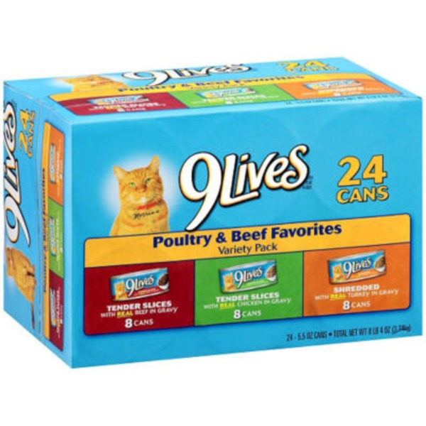 9 Lives Cat Food, Variety Pack, Poultry & Beef Favorites