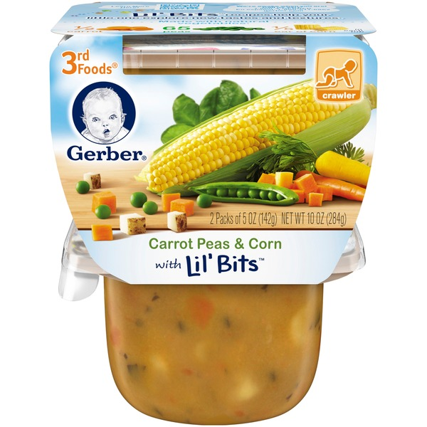 Gerber 3 Rd Foods 3F Carrot Peas & Corn with Lil' Bits  Purees Vegetable