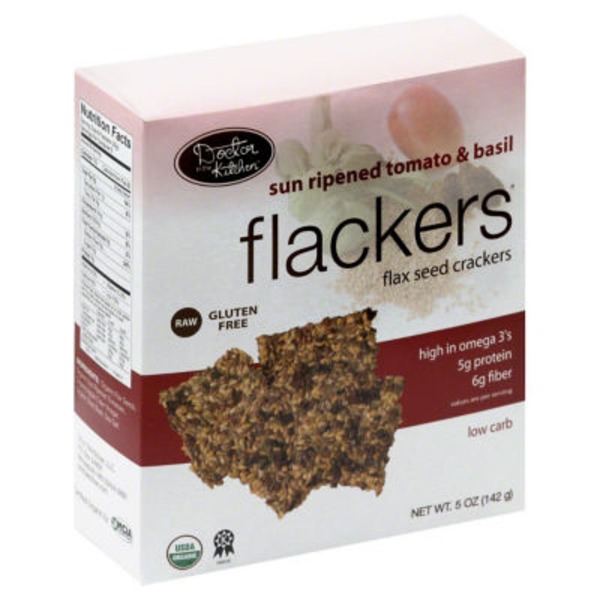 Flackers Doctor in the Kitchen Flackers Organic Flax Seed Crackers Tomato & Basil