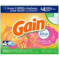Gain Powder Laundry Detergent, Hawaiian Aloha, 31 Loads 49 Oz Laundry