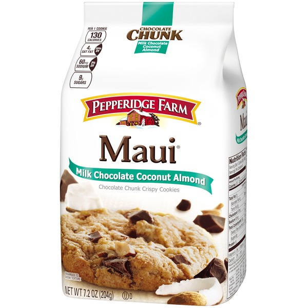 Pepperidge Farm Cookies Chocolate Chunk Maui Milk Chocolate Coconut Almond Crispy Cookies